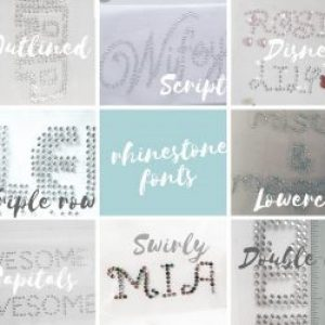 PERSONALIZED IRON ON RHINESTONE LETTER NAME WORD MOTIF DATE