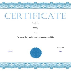 blue personalised gift certificate