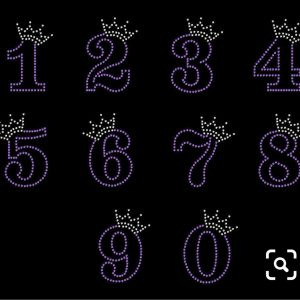 princess rhinestone numbers