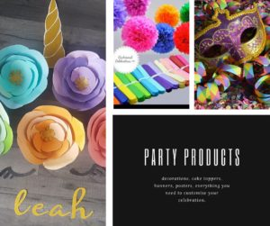 Party products collage