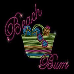 beach bum rhinestone transfer