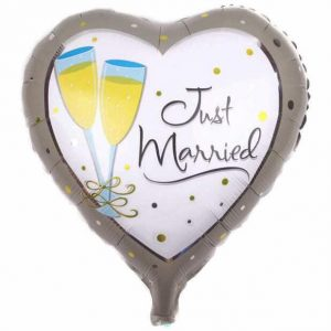",just married heart foil 18"" balloon"