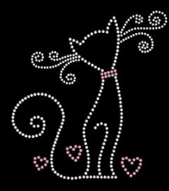 cat rhinestone transfer