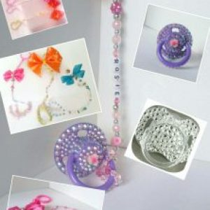 Personalised dummy chain clip soother teether reborn baby bling christening