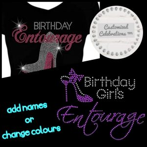 birthday entourage rhinestone transfer