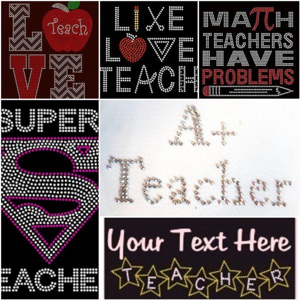 teacher A+ apple rhinestone transfer
