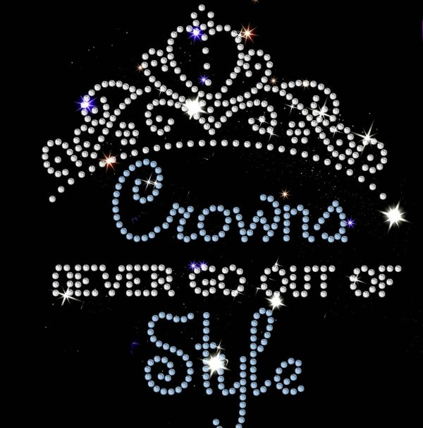 crown slogan rhinestone transfer