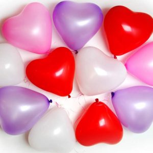 heart shaped latex 5 pack balloons