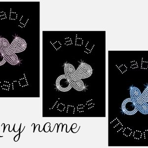 baby dummy personalised rhinestone transfer