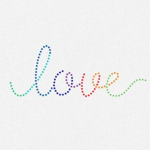 rainbow love rhinestone transfer