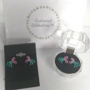 ombre glitter stud earrings unicorn gift cute birthday present girls