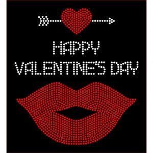 valentines lips rhinestone transfer