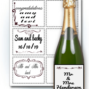 personalised wine / champagne bottle labels