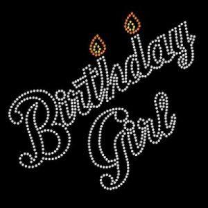 birthday girl rhinestone transfer with candles