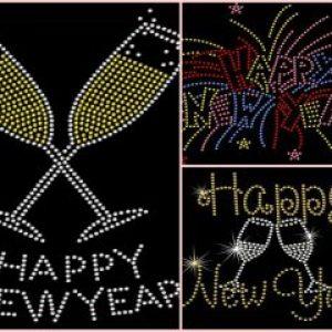 Happy new year rhinestone transfer