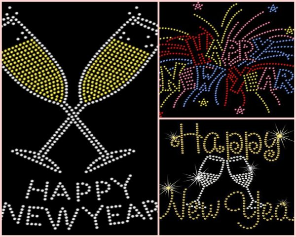 Happy new year rhinestone transfer