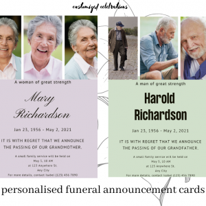 personalised funeral announcement cards