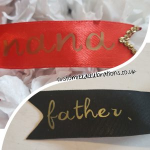 Personalised ribbon, add your own text.